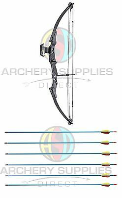 "ASD Black Lynx Compound Archery Bow 45-55 lbs, 27-29"" DL + 6 Extra Arrows"