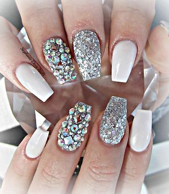 glossy nude and silver glitter coffin crystal hand painted false nails