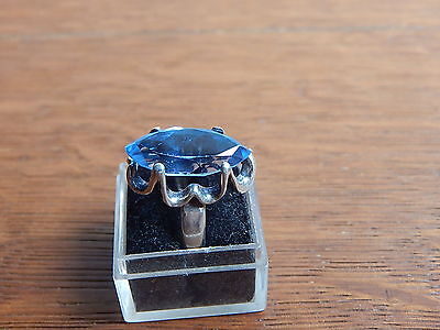 Vintage Sanches Mexico Sterling Silver Blue Crystal 925 Ring Size 7