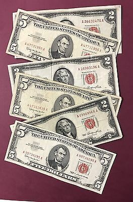 2 Note Paper Money Collection - 1953 $2 and 1963 $5 Red Seals
