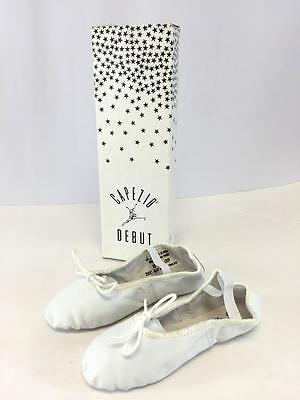 NEW girls youth kids childs white CAPEZIO BALLET SLIPPERS dance leather 13 M