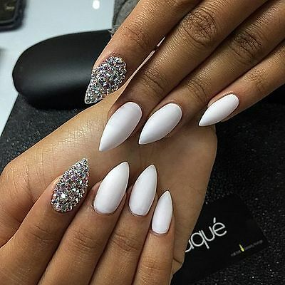 white matte crystal stiletto hand painted false nails (coffin square oval)