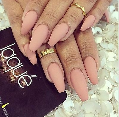 nude matte coffin hand painted false nails (stiletto square oval)