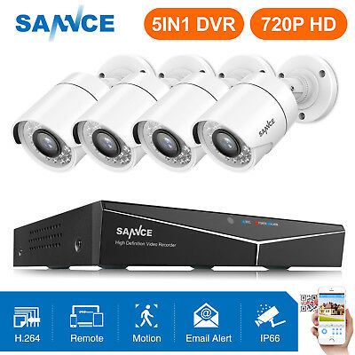 SANNCE 1080N 5in1 8CH DVR 4x 1500TVL 720P IR Night Vision Camera Security System