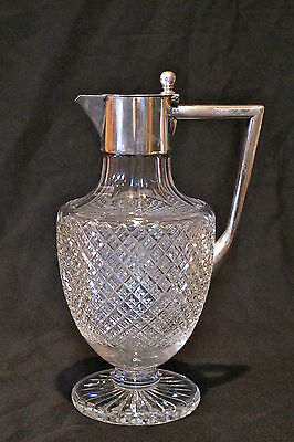Antique, Cut Glass Jug With 800 Silver Top And Handle,very Beautiful Marked