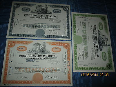 241 : Histor. Wertpapier / Aktie  USA , FIRST CHARTER FINANCIAL , 3 x 70er Jahre