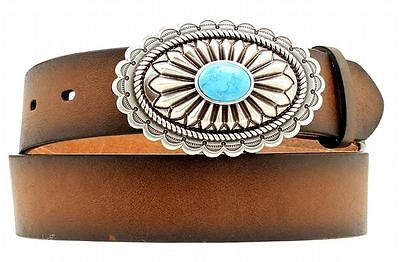 Ariat Western Womens Belt Leather Oval Turquoise Stone Brown A1512002