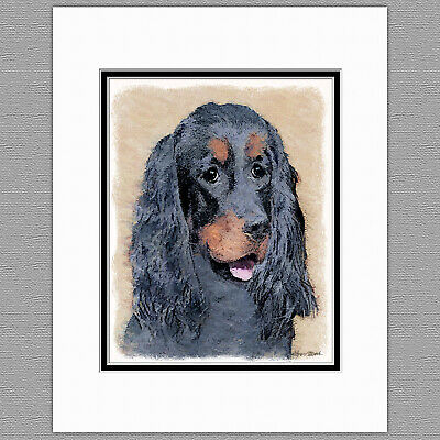Gordon Setter Dog Original Art Print 8x10 Matted to 11x14
