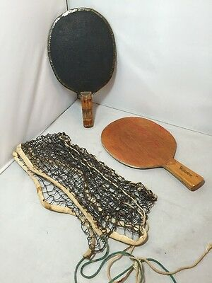 Vintage Pair of Old Table Tennis Paddle Bats & Old Net Wisden 50's
