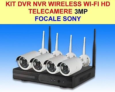 Kit Dvr Nvr Wireless Wifi 4 Canali Ch 3Mp Telecamere Hd Ir Remoto Android Iphone