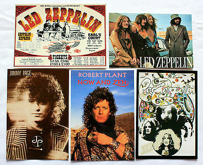 LED ZEPPELIN, ROBERT PLANT AND JIMMY PAGE POSTCARDS 5 x Vintage Postcards