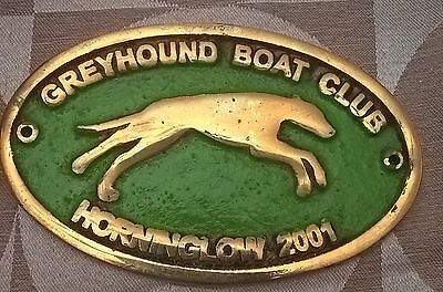 Brass canal narrow boat plaque Greyhound boat club Horninglow 2001