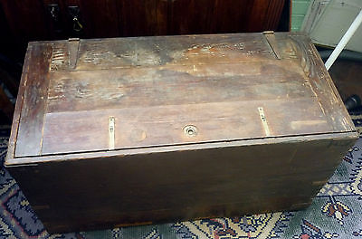 VINTAGE WOODEN TOOL CHEST toolbox  - coffee table ?