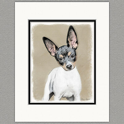 Rat Terrier Dog Original Art Print 8x10 Matted to 11x14