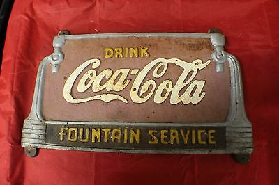 "Cast Iron ""Drink Coca-Cola Fountain Service"" Sign F1"
