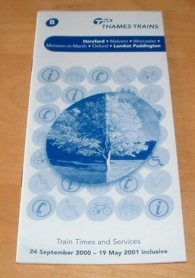 Thames Trains Railway Timetable From 2000 - Cotswold Line - New And Unused