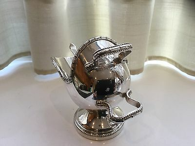 Beautiful Vintage Small Silver Plated Hand Engraved  Sugar Scuttle