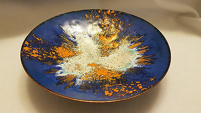Unique, vintage enamel on real copper plate / bowl,  hand painted
