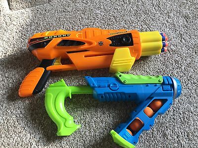 Two Children's Pump Action Toy Guns With Balls & Foam Bullets
