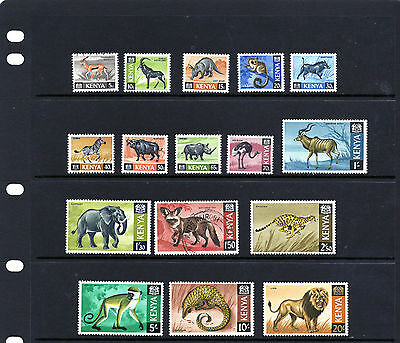 KENYA 1966-71 Animals 5c - 20/- ,issue of 16 , mainly Mtd MINT