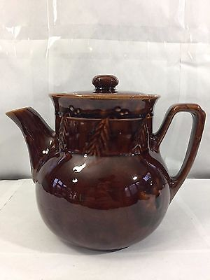 Vintage Brown Holly Berries Berry Motif Brown Art Pottery Made Usa Teapot