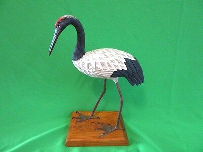 Wood Wooden Bird Carving Statue Figurine Red Headed Crane on Base Hand Painted