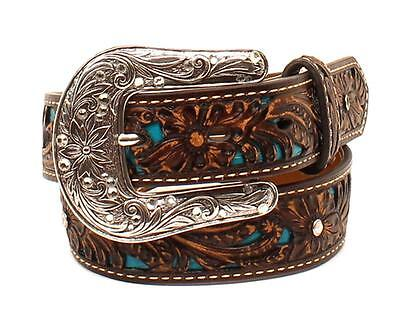 Ariat Western Girl Belt Kids Leather Tooled Rhinestones Overlay Brown A1304027