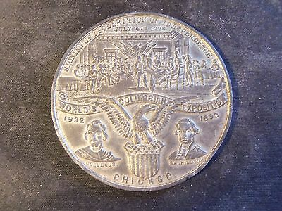 1892-1893 Columbian Exposition Medal  White Metal