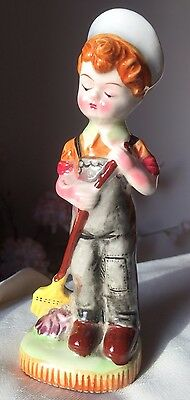 Fairylite Pottery China Figure Figurine Ornament Boy With Sweeping Brush Broom