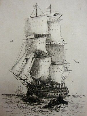 Old Engraving HMS Victory at Sea Mounted on board