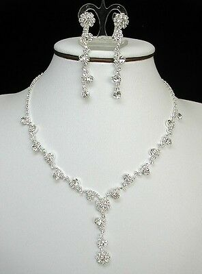 Clear Crystal Flower Bridal Jewelry Set Necklace And Earrings Wedding Prom Gala