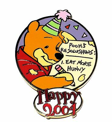 LE 100 Disney Pin✿Winnie Pooh New Year Eve Resolution Eat More Hunny Honey Party