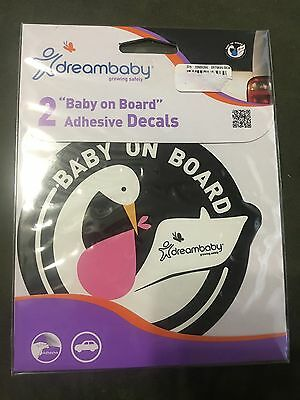 Dreambaby Baby On Board (girl) Adhesive Car Decals Pack Of 2  New