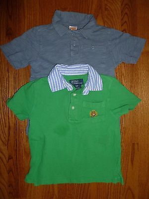 Boys Used Pre-Owned Polo Ralph Lauren Gymboree 3T Short Sleeve Green Gray Shirts
