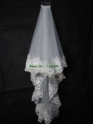 New 2 Layer Lace Edge with Sequins Fingertip Length Wedding Bridal Veil + Comb