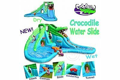 Happy Hop Crocodile Double Water Slide and Paddling Pool Bouncy Castle