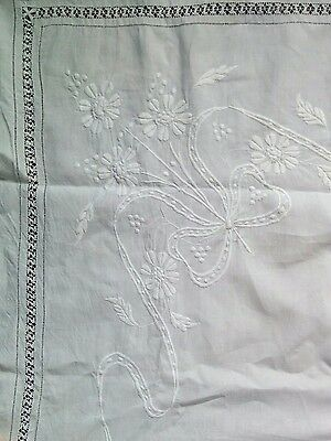 "Large White Genuine Vintage Irish Linen Tablecloth 84"" by 94"""