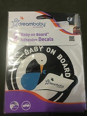 Dreambaby Baby On Board (boy) Adhesive Car Decals Pack Of 2  New