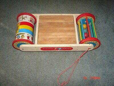 FISHER PRICE TIMBER TOTER WITH REPLACED WOOD BLOCKS (No 810) LOGS - RARE