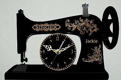 Antique Singer Sewing Machine Personalised Custom Made Hanging Wall Clock