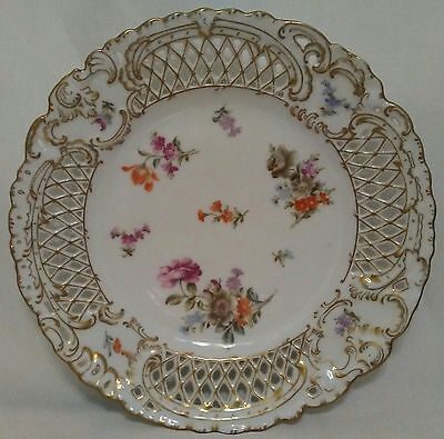 Ovington Brothers Reticulated China Floral Design Dinner Plates - Set Of 4 -