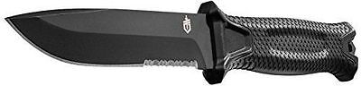Gerber Strongarm Black Fixed Blade Partially Serrated Knife