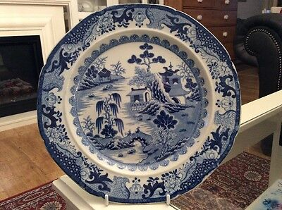 ANTIQUE BLUE  & WHITE TRANSFER PRINTED PLATE C1820, Turners Willow