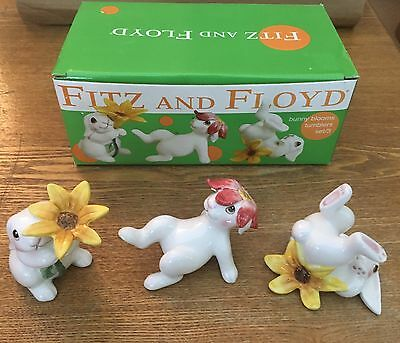 Fitz And Floyd Bunny Blooms Tumblers Figurines Set Of 3 Spring Easter NIB