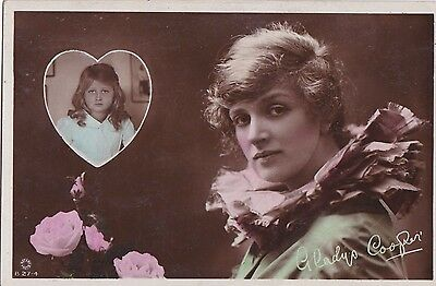 OLD POSTCARD GLAMOUR ACTRESS GLADYS COOPER CHILDREN GIRL 1910s FASHION FB69