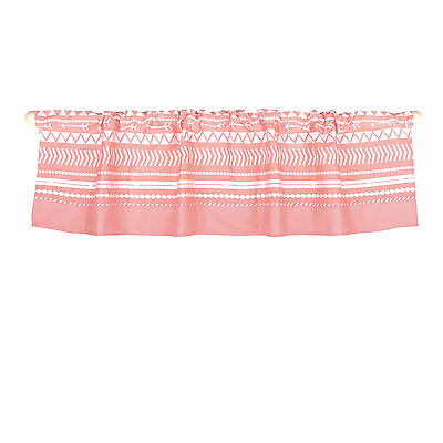 Coral Pink Tribal Print Window Valance by The Peanut Shell - 100% Cotton Sateen