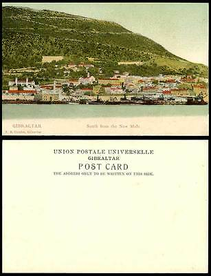 Gibraltar Old Colour UB Postcard South from NEW MOLE Ships Boats Quay Wharf Port