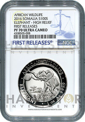 2016 Somalia High Relief Silver Elephant - Certified Ngc Pf70 First Releases