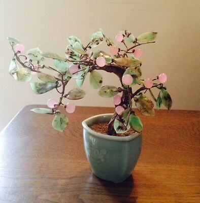 Vintage Asian Bonsai  Agate Glass Tree With Jade color Leaves
