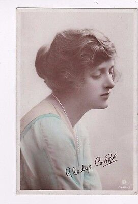 OLD POSTCARD GLAMOUR WOMAN ACTRESS GLADYS COOPER NECKLACE 1910s FASHION FB79